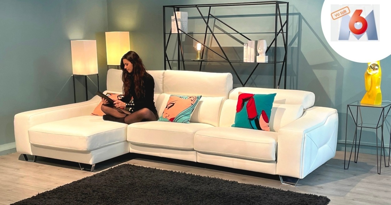 meridienne cuir blanc deco in paris canape d angle. Black Bedroom Furniture Sets. Home Design Ideas