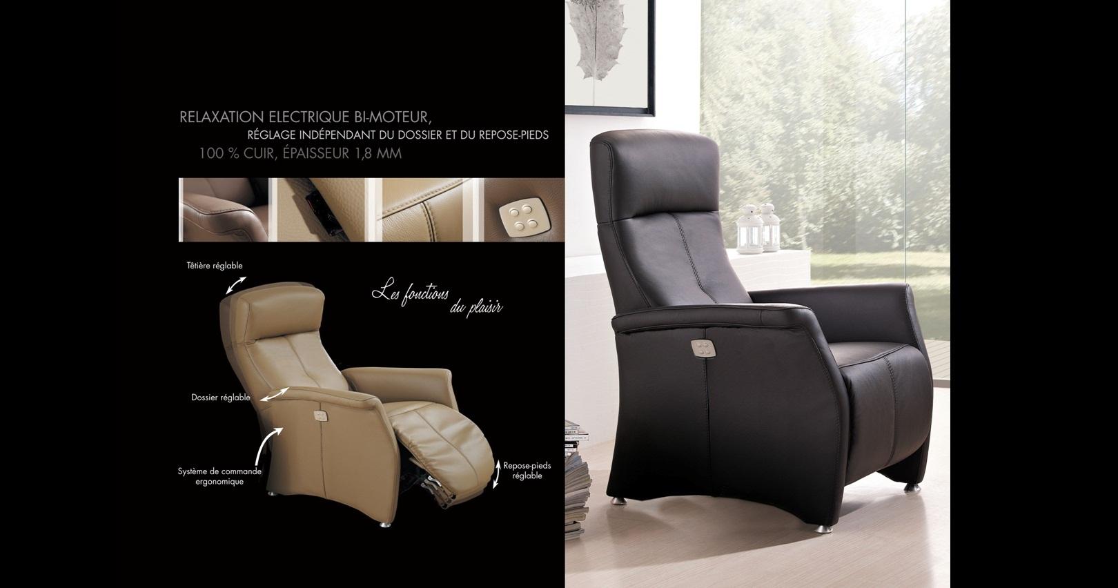 PRASLIN Fauteuil Relaxation Electrique Bi Moteur personnalisable