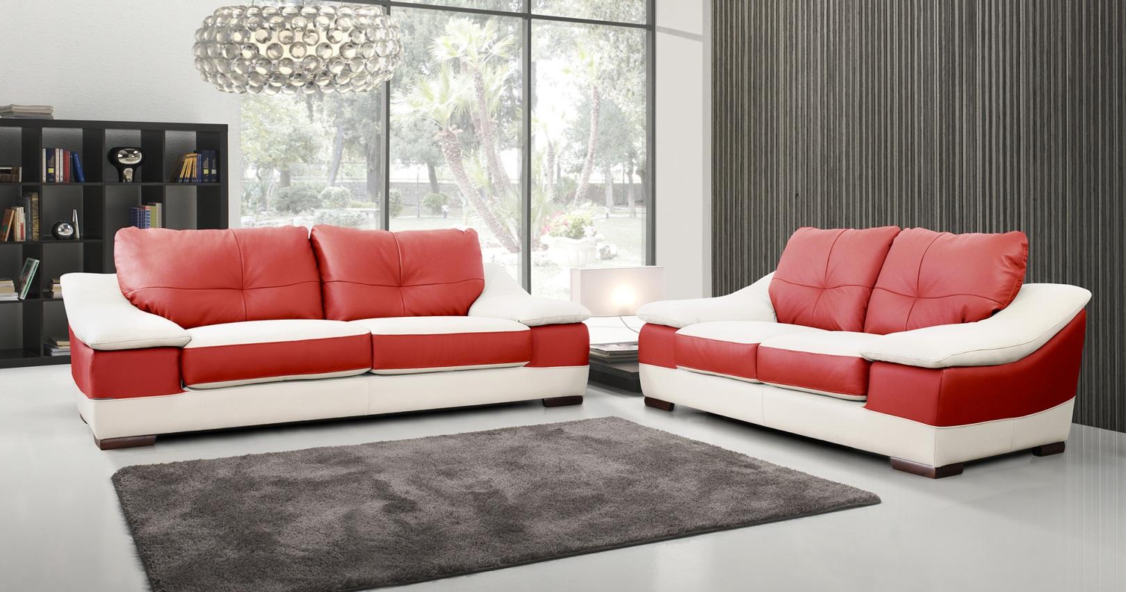 Ensemble salon contemporain 3 2 prosper cuir bicolore - Salon contemporain design ...