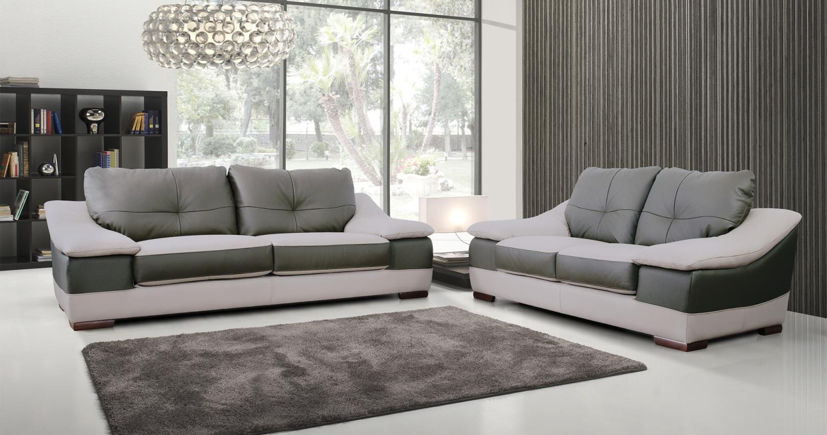 ensemble salon contemporain 3 2 prosper cuir bicolore. Black Bedroom Furniture Sets. Home Design Ideas