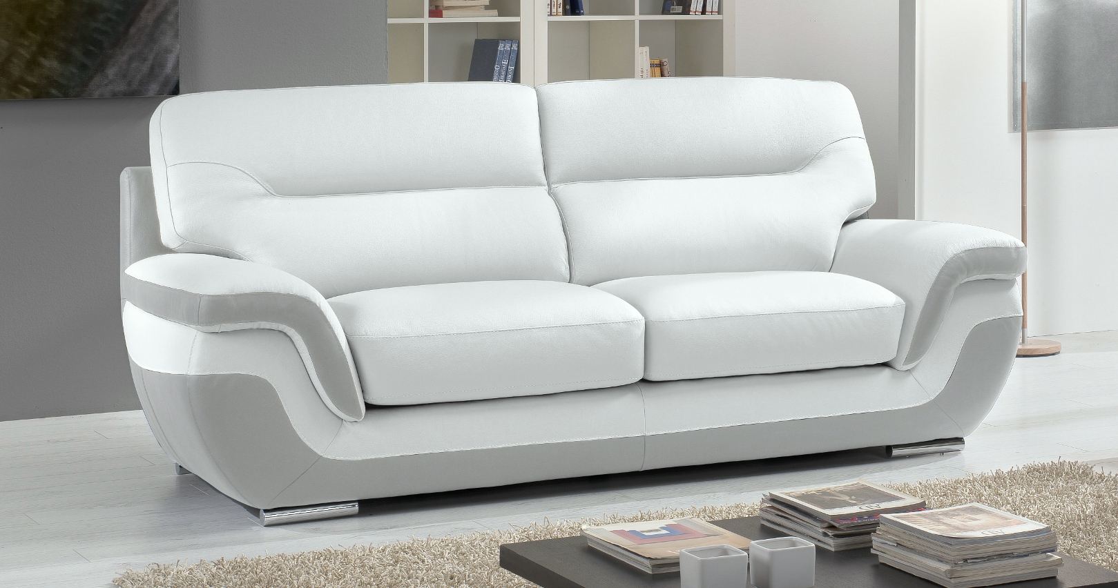 Moderne Couchgarnituren canapé cuir bicolore rodrigue 100 cuir