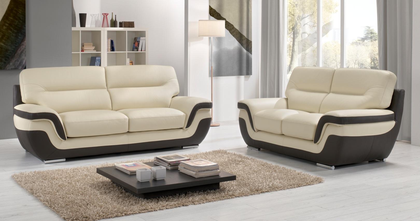 canap cuir bicolore rodrigue 100 cuir. Black Bedroom Furniture Sets. Home Design Ideas