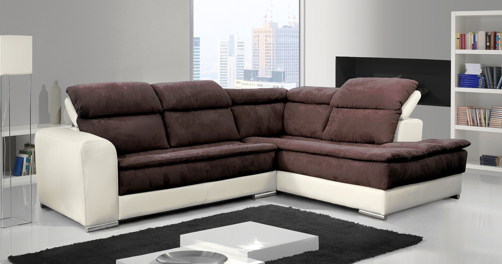 canap angle bi mati re terminal pouf candice. Black Bedroom Furniture Sets. Home Design Ideas