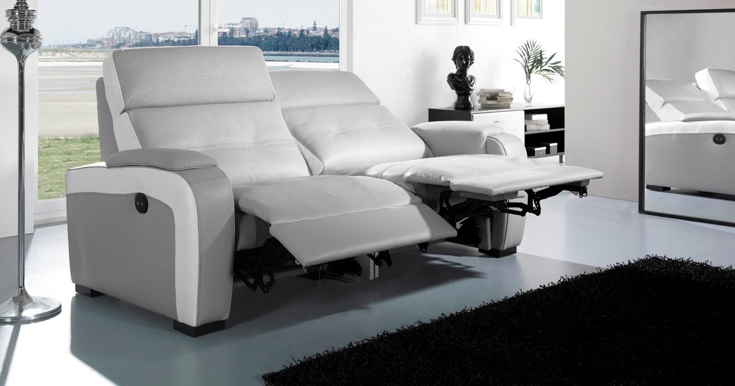 Canap en cuir de relaxation electrique charlotte chez univers du cuir - Canape cuir relaxation ...